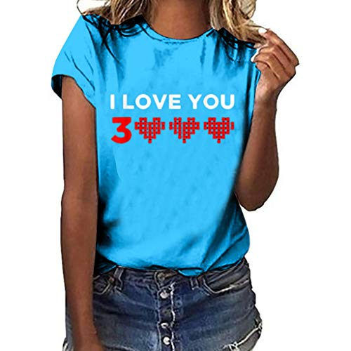 WOZOW Shirts Damen Kurzarm O Ausschnitt I Love You 3000 Times for Ironman Hearts Muster Print Druck Oberteile Tops Loose Lose Valentine's...