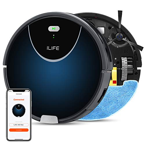 ILIFE V80Max Mopping Robot Vacuum, 2-in-1 Robot Vacuum and Mop, Wi-Fi Connected, 2000Pa Max Suction,Big 750ml Dustbin, Enhanced Suction Inlet,Zigzag Cleaning Path,Self-Charging,Ideal for Hard Floor