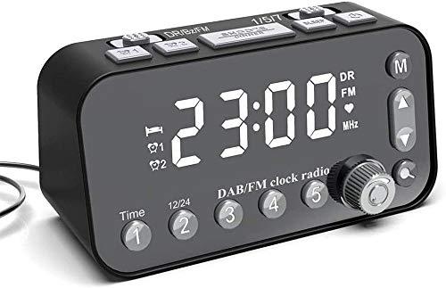 Reloj Despertador Digital Pantalla LED Reloj atenuador Multifuncional con Radio FM/Dab Adecuado para Sala de Estar/Dormitorio Fantastic
