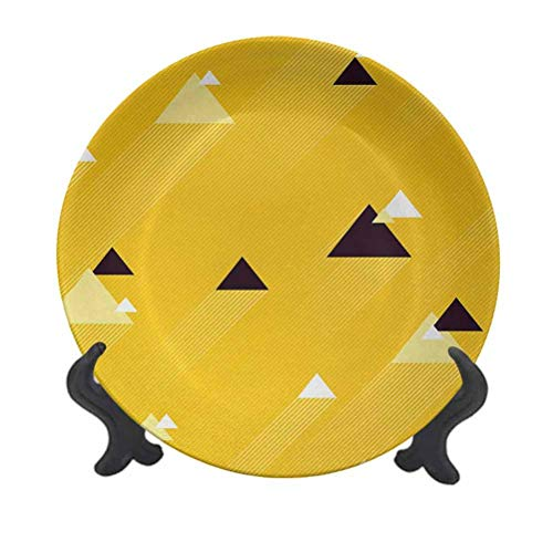 SfeatrutMAT 6' Vintage Yellow Dinner Plate,Big and Small Diagonal Triangles with Stripes Geometric Retro Creative Decorative Plate for Pasta, Salad Marigold Black and White