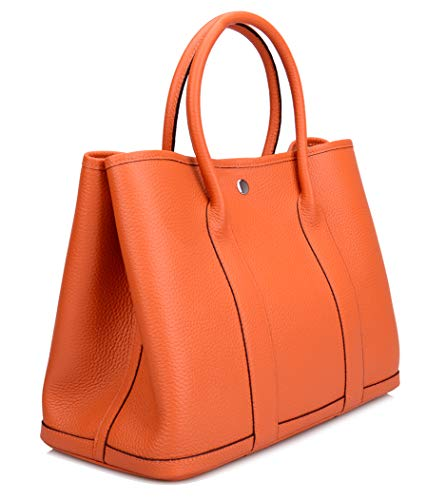 Gershimany Women's Genuine Leather Top Handle Handbags Totes Shopping Purse (Large (bottom length 14.2''), Black.)