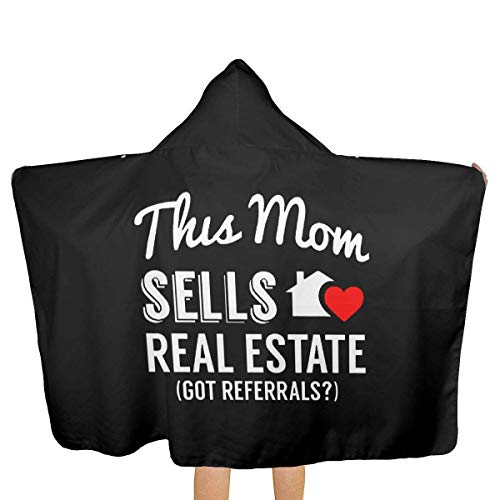 65469longshuo BeachTowel - (51.5W X 31.8L) - Absorbent & Quick Dry Hooded Serviette de Plage pour Les Enfants Teens This Mom Sells Real Estate Realtor