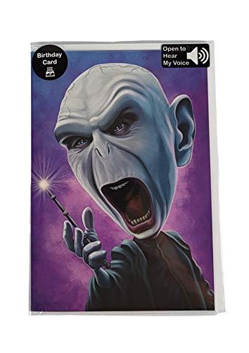 Biglietto di compleanno parlante – divertente biglietto di compleanno per mamma, papà, 30°, 40°, 50°, 60° – Wishes You a Happy Birthday in 's Voice – regalo divertente per uomini e donne (Voldemort)