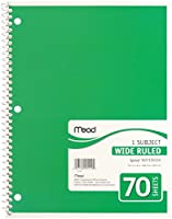 Mead製品、Spiral Boundノートブック、Wide /マージンルール、8x 10–1/ 2、ホワイト、1件名70シート/パッド