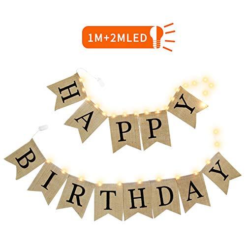 """QSUM """"Happy Birthday"""" Banner mit LED Lichterkette, Geburtstag Dekorationen für Mädchen und Jungen - Erwachsene und Kinder - Gute Qualität, Sackleinen"""