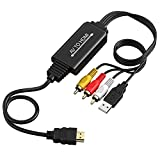 RCA/AV a HDMI HD convertidor 1080P con cable HDMI y cable de alimentación USB y cable compuesto 3 RCA, compatible con PAL / NTSC, solicitar Wii Nintendo PC / Xbox / PS4 / PS3 / TV / STB / VHS / DVD