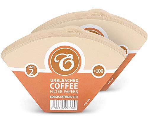 EDESIA ESPRESS - 200 filtri caffè americano in carta non sbiancata - forma a cono - misura 2