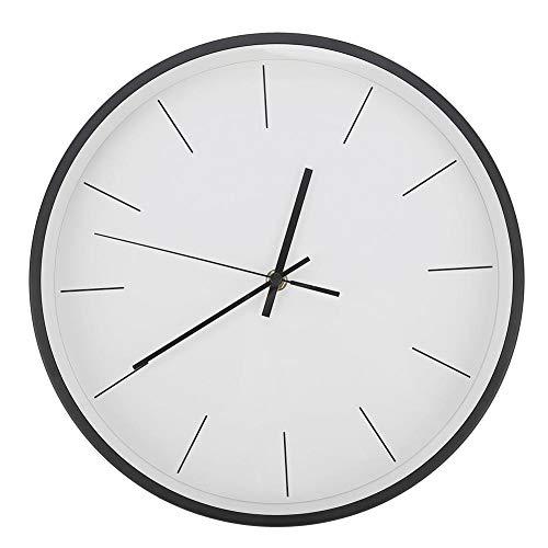 Candeon Reloj de Pared de Estilo Simple y Moderno Reloj de Metal silencioso Negro (batería no incluida)