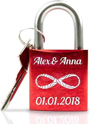 ABUS Liebesschloss mit Gravur I Valentinstagsgeschenk für Sie - Valentinstagstag Geschenk - Liebesschloss mit Gravur und Schlüssel - rot