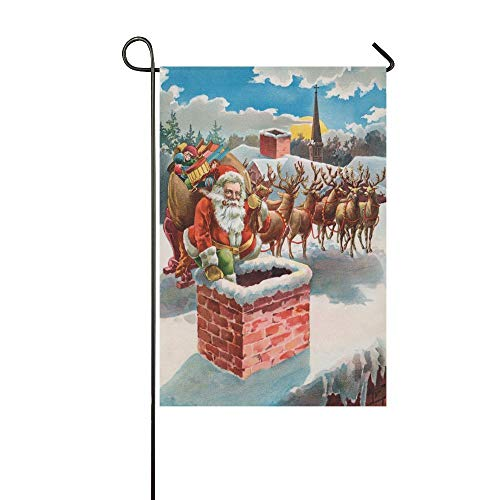 HujuTM Christmas Santa Claus Reindeer on the Roof Top Polyester Garden Flag House Banner 12 x 18 inch, Vintage Funny Decorative Flag for Wedding Party Yard Home Outdoor Decor