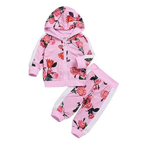 puseky Enfant bébé Filles Floral Top à Manches Longues à Capuche Chemise + Pantalon survêtements Ensemble
