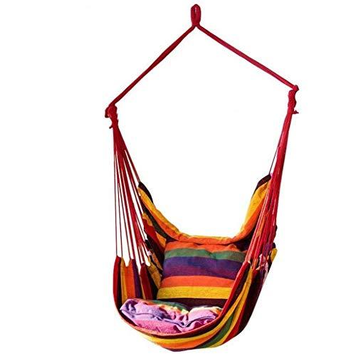 Dasongff Hangstoel, hangstoel, hangstoel, hangmat, zitvlak, luchtschommel, belastbaar tot 200 kg, voor binnen, buiten, tuin, terras, veranda, binnenplaats Hängematte + Kissen rood