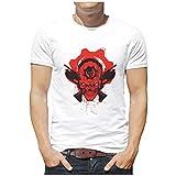 Xuanwuyi - Camiseta de algodón pesado con cuello redondo para jóvenes y adultos Blanco blanco 4XL