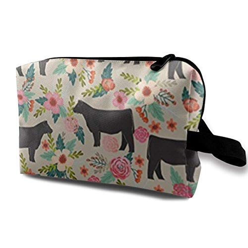 Show Steer Cows Farm Barn Florals Design Portable Travel Cosmetic Bags Makeup Organizer Bags Grande Capacity Toiletry Organizer Cases Travel Pouch Purse