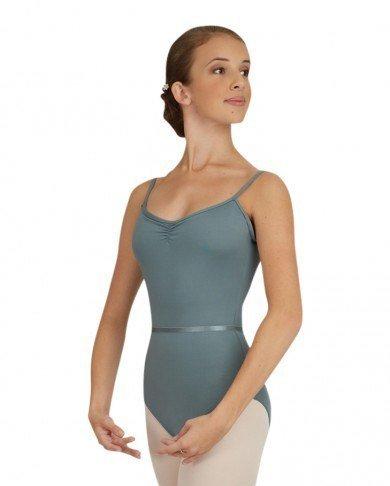 Capezio Balletttrikot Tanztrikot CAD120 mit Spaghettiträgern, Brustraffung und Taillenband für Damen (Grau, S)