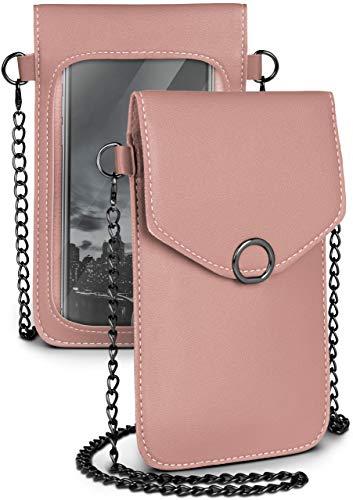 moex Handytasche zum Umhängen für alle Vernee Handys - Kleine Handtasche Damen mit separatem Handyfach & Sichtfenster - Crossbody Tasche, Rosa