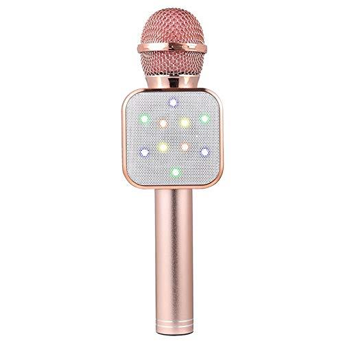 Bobin MicróFono de Mano InaláMbrico Altavoz MicróFonos LED de Oro Rosa para Profesores en LíNea NiiOs NiiOs