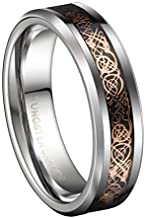 6/8mm 18K Rose Gold Celtic Tungsten Carbide Wedding Band Engagement Matching Couple Ring