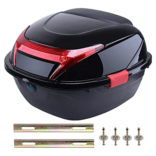 Motorbike Scooter Rear Luggage Topcase Universal Motorcycle Rear Top Box Tail Trunk Luggage Storage Case Motorcycle Helmet Bags, Lockable Hard Case with Soft Backrest/Mounting Hardware.