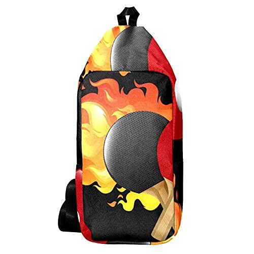 EZIOLY Juego de tenis de mesa llameante mochila bandolera bandolera bolsa de viaje senderismo mochila para hombres y mujeres