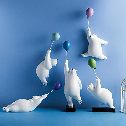GaoF Polar Bear And Balloon Figure,Whimsical Cute Bear Statue Ornament,Resin Animal Fairy Diy Crafts For Kid's Room Office Home Decor White C 30x9cm(12x4inch)