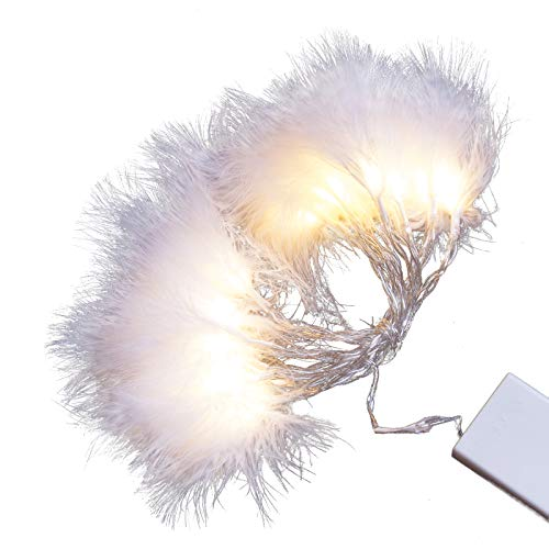 Feather Lights with Warm White LEDs and White Feathers. Battery Operated with on/Off/Timer Modes. (Feather String)