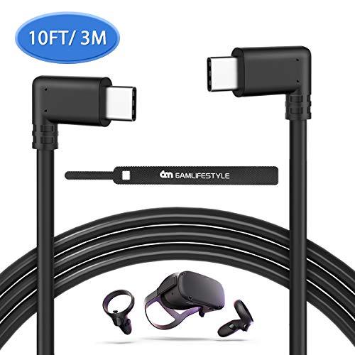 Oculus Quest Link Kabel, USB C auf USB C Kabel Power Delivery 3M USB Type C Ladekabel Datenkabel 90 Grad Winkel für VR Brillen Oculus Quest Link,iPad Pro 2020, Surface Pro 7, Huawei P30 usw.