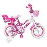 Mediawave Store - Bicicleta Butterfly Fly Flower, talla 12, bicicleta para niña 510132, edad 2-5 años, idea regalo, bicicleta para niña, niña, rosa y blanco, con porta muñecas
