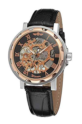 Gute Damen Herren Unisex Schwarz Automatik Armbanduhr Uhren Steampunk Skelett