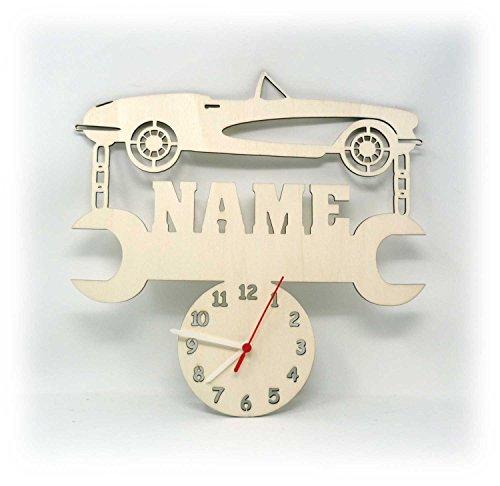 Auto Uhr mit Name Geschenke für Schrauber Kfz Mechaniker Werkstatt Zubehör