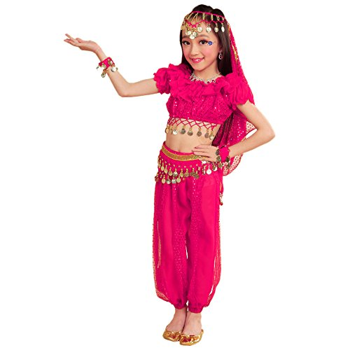 BOZEVON Disfraz de Danza del Vientre Indio para niñas - Ropa de Vestir de Rendimiento Profesional de Baile, Tops + Pantalones + Cadenas de Cintura + 2 Pulseras + Velo (Rosa Rojo,EU XS = Tag S)