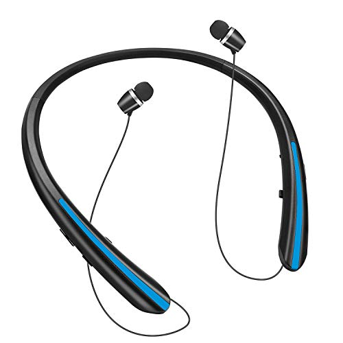 Bluetooth Headphones,Retractable Wireless Earbuds Neckband Headset Sports Noise Cancelling Stereo Earphones with Mic 24 Hrs Playtime Call Vibrate Alert(2020 Upgrade) (Black/Blue)