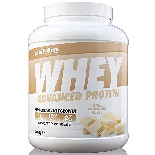 per4m Protein Whey Powder | 67 Servings of High Protein Shake with Amino Acids | for Optimal Nutrition When Training | Low Sugar Gym Supplements (White Chocolate, 2010g)