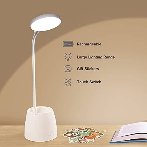 Lampada da Scrivania LED, Lampada da Tavolo Bambini Cameretta, Luce da Lettura con Batteria Ricaricabile 4000mAh con Controllo Tattile e 3 Modalità di Illuminazione per Lavoro Studio