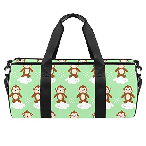 LAZEN Hombro Handy Sports Gym Bags Travel Duffle Totes Bag para Hombres Mujeres Mono de dibujos animados