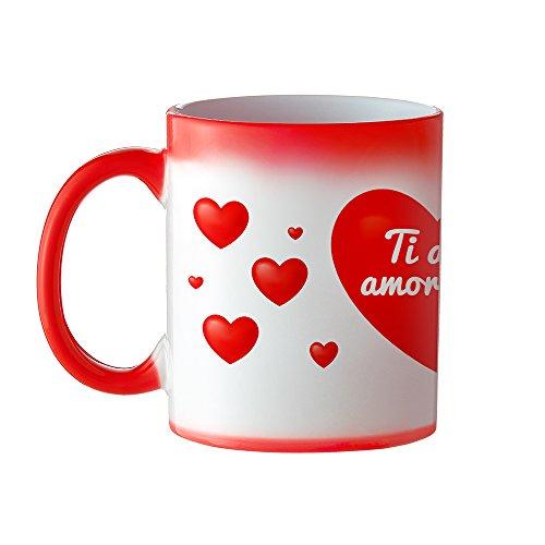 Casa Vivente Tazza Magica in Ceramica con Rivestimento Termosensibile Rosso a Cuori, Cambia Colore, Ti Amo Amore Mio, Mug Colazione Termica