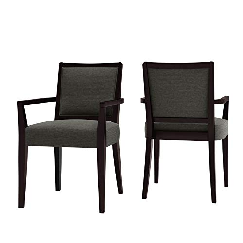 Domesis Upholstered Arm Dining Chair in Espresso and Olive Textured Woven (Set of 2)