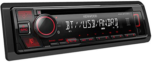 Kenwood KDC-BT430U CD-autoradio met Bluetooth handsfree luidspreker (high-performance tuner, soundprocessor, USB, Android en Spotify Control, 4x50 watt, rood) zwart