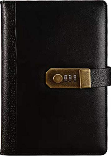 """Journal (Size: A5) 8.35"""" X 5.8"""" Lined Page With Combination Lock (Diary Notebook With passcode), Executive Hardcover Buiness PU Leather Password Memo Notepad. (Antique Black)"""