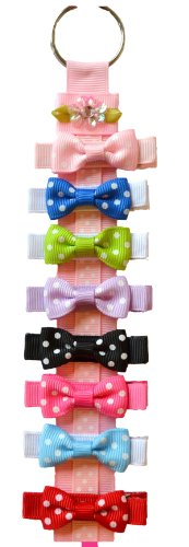 Product Image of the Set of 8 Polka Dot Hair Bows and Free Bow Holder Gift Set By Funny Girl Designs...