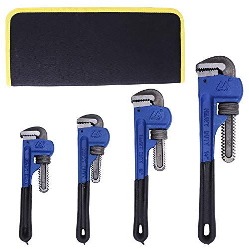 KOTTO 4 Pack Set Heavy Duty Pipe Wrench Set Heat Treated Adjustable 8, 10, 12, 14 Inches Soft Grip Plumbing Wrench Set with Storage Bag