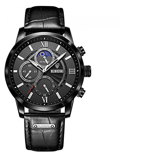 Cuitan Hombres Relojes Top Marca de Lujo Reloj de Pulsera para Hombre de Cuero Reloj de Cuarzo Deportivo Reloj Masculino Impermeable(Negro Negro)