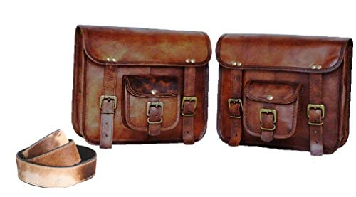 LBH ganpati handicraft Motorcycle Side Pouch Brown Leather Side Pouch Saddlebags Saddle Panniers 2 Bag Buffalo Leather Camera Belt