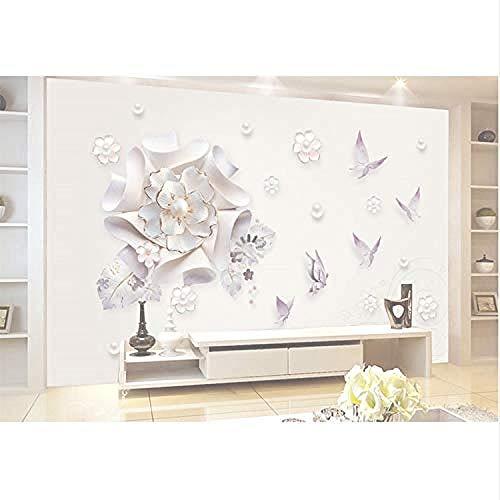 Murales de pared Papel tapiz fotográfico Moderno Papel de pared estereoscópico Joyería Floral Maripo Pared Pintado Papel tapiz 3D Decoración dormitorio Fotomural sala sofá pared mural-200cm×140cm