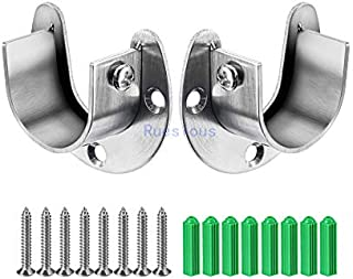 Ruesious Set de 2 soportes ajustables,Soporte para barra de armario, para barra de armario,soportes para barra de cortina de ducha de armario