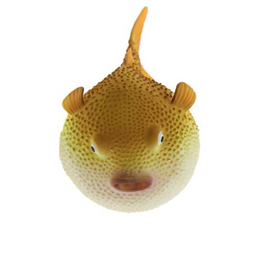 FLAMEER Silikon Kugelfisch Aquarium Dekoration, 8 x 5 x 5 cm - Gelb