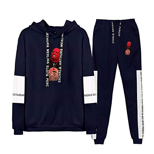 Männer/Frauen Pullover SKIMASKEDIESLUMPGOTT Raglan Bedrucktes zweiteiliges Sweatshirt Casual Sets Rapper Harajuku Winter Hochwertiger Hoodie Sweat + Loose Pants S-XXXL