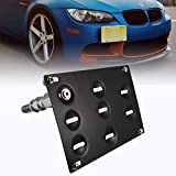 runmade Front Bumper Tow Hook Adapater License Plate Mounting Bracket Holder Compatible with BMW E39 E46 E90 E91 E92 E93 E70 E71 F10 F30 G30 1 3 4 5 Series X1 X3 X4 X5 X6