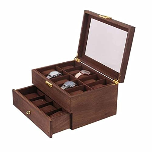 LKESWLE 10/20 Grids Doble Capa Retro Reloj Caja de Walnut Wooden Reloj Caja Caja de Estuche Organizador de Almacenamiento para Hombres Reloj Mujeres Regalo (Color : A)
