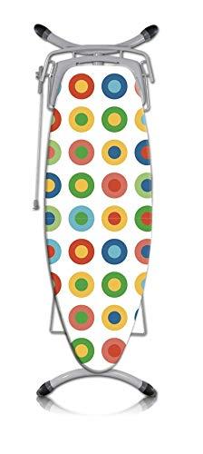 Rotel Bügelbrettbezug/Bügeltischbezug in weiß mit ausgefülltem Kreismuster in den Farben rot, gelb, grün, und blau - Maße: ca. 140 x 60 cm, mit Schnurrzug